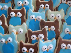 Owl sugar cookies I made for my shower - yummy!