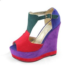 SHOEZY Womens Suede Wedge Heel Pumps T Strap Platform Shoes Multi Colors US 6. Check website for more description.