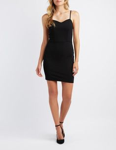 37afa4813d1f Charlotte Russe Caged Sweetheart Bodycon Dress