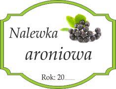 Naklejka na aroniową nalewkę Berries, Food And Drink, Printables, Logo, Miniatures, Paper, Logos, Print Templates, Bury
