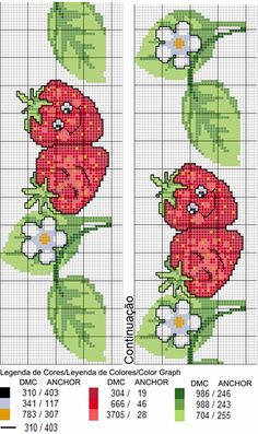 Cross Stitch Fruit, Cross Stitch Bookmarks, Cross Stitch Charts, Cross Stitching, Cross Stitch Embroidery, Hand Embroidery, Modern Cross Stitch Patterns, Cross Stitch Designs, Broderie Simple