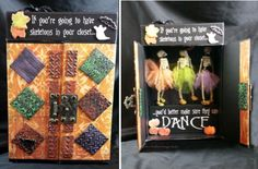 Dancing Skeletons - Skeletons in the closet!  By Candice Windham - made with Makin's Clay® no bake air dry polymer clay - http://www.makinsclayblog.blogspot.com/2015/10/dancing-skeletons-by-candice-windham.html