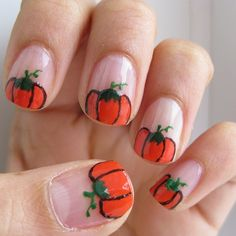 Pumpkin nails designed by myself (:
