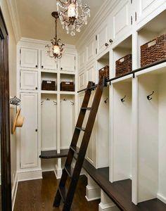 Great master bedroom closet idea. or an innovative mudroom.