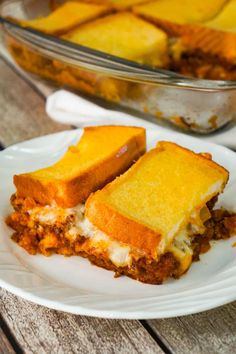 Sloppy Joe Grilled Cheese Casserole is an easy ground beef dinner recipe your whole family will love. This tasty casserole is loaded with mozzarella cheese and sloppy joe filling sandwiched between two layers of bread. Beef Recipes For Dinner, Ground Beef Recipes, Meat Recipes, Cooking Recipes, Healthy Recipes, Fish Recipes, Crockpot Recipes, Steak Casserole, Healthy Foods