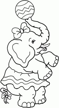 girl elephant free printable coloring pages