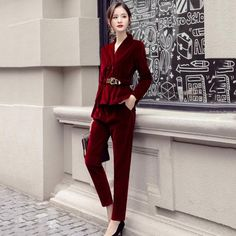Suede Elegant Women Suit  Price: 74.27 $ FREE Shipping  #like4like #followme #followforfollow #instagood #fashion #usa #europa #accessories #Fashionstore Suit Prices, Velvet Suit, Fashion Usa, Long Pants, Elegant Woman, Suits For Women, Like4like, Free Shipping, Stuff To Buy