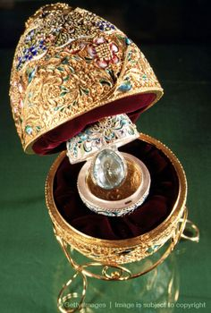 A Faberge Egg from the Kremlin Museum collection in Moscow, Russia, March 2001. The eggs were first designed in 1884 by the artist Peter Carl Faberge who gave one to a Russian czar who then gave it to his wife as an Easter gift. The wife loved it so much that she ordered them to be made each year for Easter. Faberge's primary source of inspiration for the designs came from historical artworks from previous centuries.