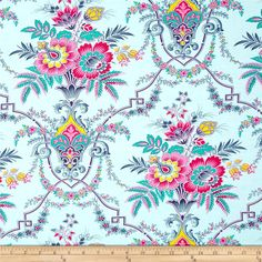 Lucky Girl Jill Sky from @fabricdotcom  Designed by Jennifer Paganelli for Free Spirit, this fabric is perfect for quilting, apparel and home décor accents.  Colors include pink, magenta, yellow, teal and blue on an aqua background.