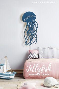 Jellyfish lamp, perfect ocean nursery decor or nautical nursery lamp. Wooden wall lamp by SmagaWonderland #lampdesign #lampslivingroom #lampbedroom #boholamp #woodenlamps #bedsitelamps #uniquelamp #nauticallamp #bedroomlamps #nightlamps #modernlamps #nurserylamp #prettylamps #lampprojects #lampdecor #decorativelamp #boholamps #babylamps #magiclamps #lampart #creativelamps #colorfullamps