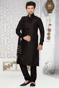 This Kurta Pajama Is Perfect One Crafted With . The Black Colour Kurta Is Fabricated In Art Silk Fabric. It Has Comes In Various Sizes 32,34,36,38,40,42,44. So You Can Wear This and Make Your Celebrat...