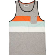 Billabong Unisex Slice Tank ($35) ❤ liked on Polyvore featuring tops, grey heather, knit tops, striped top, stripe tank, gray tank top, unisex tops and striped jersey