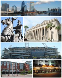 I didn't realize Jacksonville FL was such a huge city ... Top, left to right: Downtown Jacksonville, statue of Andrew Jackson, Prime F. Osborn III Convention Center, EverBank Field, Veterans Memorial Arena, Florida Theatre