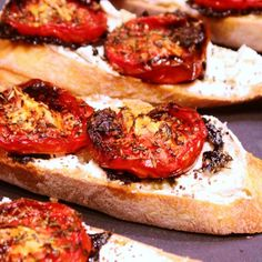 Thyme-Roasted Tomato and Goat Cheese Crostini... for drop in guests and last minute appetizers.