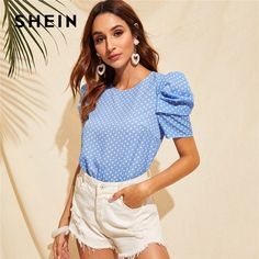 Keyhole Back Puff Sleeve Polka Dot Summer Blouse Women Clothes Blue Casual Round Neck Short Sleeve Ladies Tops Blue Fashion, Pop Fashion, Fashion News, Summer Blouses, Summer Shirts, Clothes 2019, Polka Dot Blouse, Types Of Sleeves, Fashion Clothes