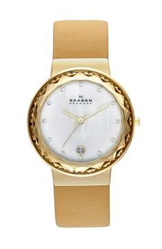 Skagen Faceted Glass Bezel Leather Strap Watch, 34mm available at #Nordstrom