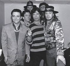 love this old pic of Stevie Ray Vaughan, Jimmie Vaughan, Chris Layton, Tommy Shannon, Reese Wynans and Mick Jagger.
