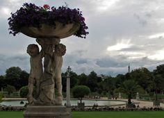 Luxembourg Park with Eiffel Tower in background