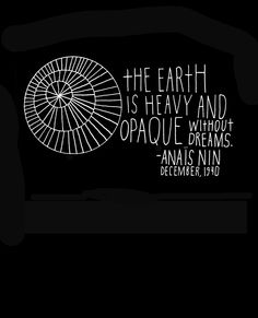 Anais Nin Quote - The Earth is Heavy - Standard Size. $18.00, via Etsy.