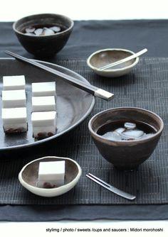 あずきココナッツ羹の画像 | モード系*和菓子 + 器 のテーブルスタイリング