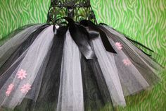 pink and black tutu with pink flowers