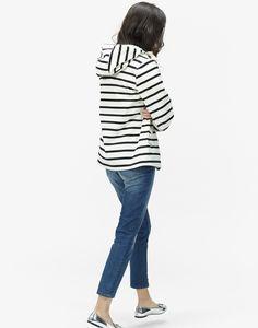 Coast Black Stripe Waterproof Hooded Jacket | Joules US