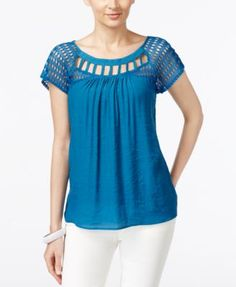 NY Collection Lace-Trim Lattice-Neck Top | macys.com