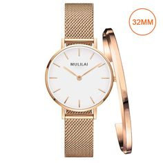 54372b23e96 32mm Luxury Brand Ladies Steel Bracelet Quartz Watch fashion Simple Rose gold  women dw watch style