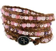 Breast Cancer Awareness - Breast Cancer Store - Wakami Pink Ribbon Beaded Wrap Bracelet