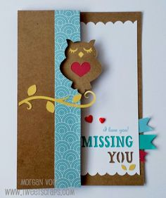 TweetScraps: #ArtfullySent Swing Card - Whooo Misses You? #PaperFundamentals #Whimsy