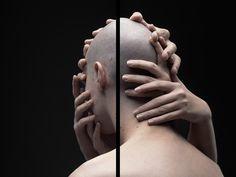 William Farges, Black Line - hands grabbing head