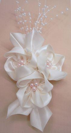 Cream Bridal Headpiece on Large Alligator Clip