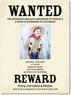 Notorious Suspect - Birthday Party Invitations in Almond Cowboy Party Invitations, Make Birthday Invitations, Birthday Party Themes, 2nd Birthday, Invites, Birthday Ideas, Birthday Stuff, Birthday Celebration, Cowgirl Birthday