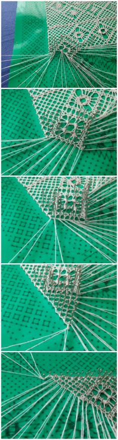 Bobbin lace sampler: finishing a half stitch trail and a corner in torchon ground