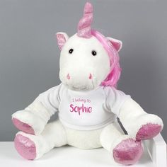 This Personalised 'I Belong To' Plush Unicorn is the perfect gift for any little girl. Personalise this T-shirt with any name up to 12 characters.This sweet and cuddly unicorn has pink and sparkling maine and tail, and features an embroidered pink. Personalised Childrens Gifts, Personalised Christening Gifts, Personalized T Shirts, Customized Gifts, Gifts For Girls, Girl Gifts, Special Gifts For Her, Unicorn Gifts, Toy Unicorn