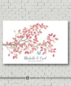 Pink and Beige Wedding Colors, Wedding Poster, Modern Guest Book, Guest Book Alternative, Wedding Tree, Wedding Decor