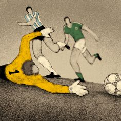 A series of illustrations celebrating the FIFA World Cup. Every image refers to the most important goal scored in the final match.