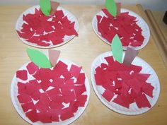 Little Apple Art Project apple craft. Teaches little ones how to tear or cut paper and glue. A project they can do on their own!