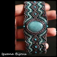 bracelet macramé quartz aqua marine' by IgwanaBijoux on Etsy