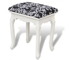 Footstool for Vanity Wooden - Rattan Furniture SHOP UK Interior Furniture Home Decor Furniture, Dining Room Furniture, Furniture Design, White Dressing Tables, Dressing Table With Stool, Chaise Bar, Bedroom Chair, Chair Pads, Black