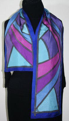 Foulard en soie bleue. Peint à la main pourpre écharpe. Couchers de soleil  Fidji 11c65c3e5c2