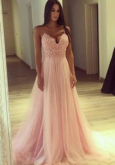 Spaghetti Straps Light Pink Prom Dress,Sexy A-Line Prom