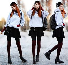 Dream But Do Not Sleep Hoodie, Romwe Backpack, Choies Skirt, Vagabond Boots, H&M Socks, Front Row Shop Polo Top