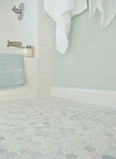 Sherwin Williams Sea Salt is a beautiul paint colour with marble, shown in bathroom with hexagon patterned floor tile Bathroom Floor Tiles, Bathroom Renos, Bathroom Colors, Bathroom Renovations, Small Bathroom, Master Bathroom, Serene Bathroom, Wall Tile, Bathroom Ideas