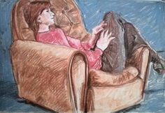 Soft pastel sketch of a girl daydreaming on a couch.