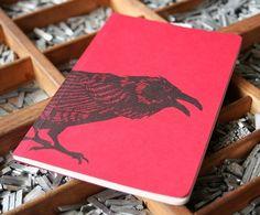letterpress notebook Crow recycled by blackbirdletterpress on Etsy, $15.00