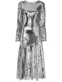 Shop online metallic Racil Sequin Embellished Silk Blend Midi Dress as well as new season, new arrivals daily. Dress Outfits, Fashion Dresses, Women's Fashion, Fashion Ideas, Sequin Evening Gowns, Sequin Midi Dress, Asymmetrical Skirt, Silver Dress, Fashion Stylist