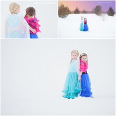 Posh Poses | Children Photography | Frozen Inspiration | Soft Winter Colors | Little Princesses | Sisters | Sibling Photos | Back-To-Back | Outdoors #sarahoconner