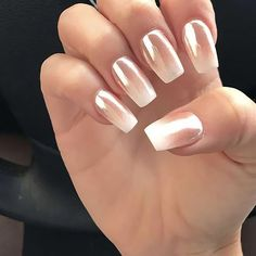 Ombre Nail Designs, White Nail Designs, Nail Art Designs, Nails Design, Rose Gold Nails, White Nails, Blue Nails, French Nails, Ambre Nails