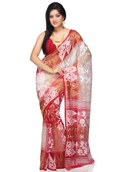Red and Off White Cotton Silk Saree With Blouse: SBCA16